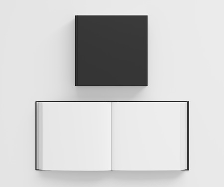 include: Open and closed blank square book with black cover isolated on white background. Include clipping path around each book cover. 3d illustration