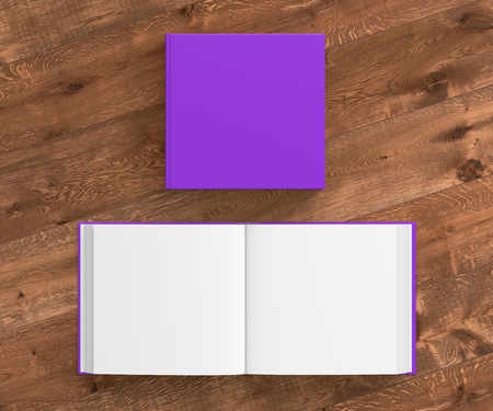 Open and closed blank square book with violet cover isolated on wooden background. Include clipping path around each book cover. 3d illustration Stock Photo