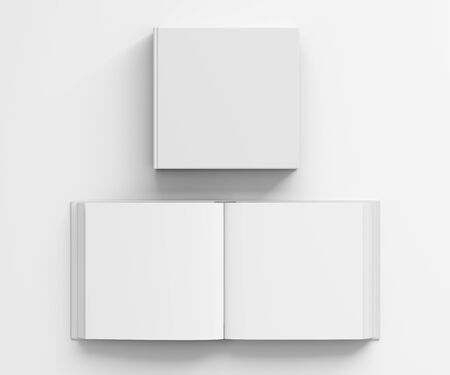 include: Open and closed blank square book with white cover isolated on white background. Include clipping path around each book cover. 3d illustration