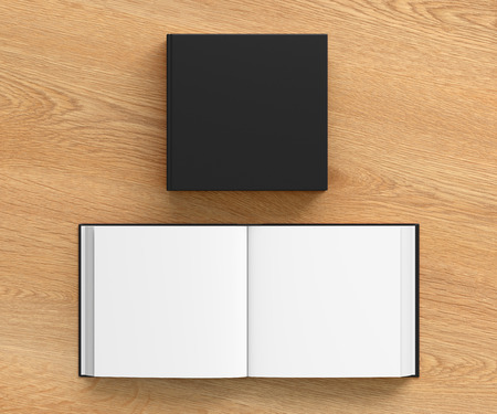 include: Open and closed blank square book with black cover isolated on wooden background. Include clipping path around each book cover. 3d illustration Stock Photo