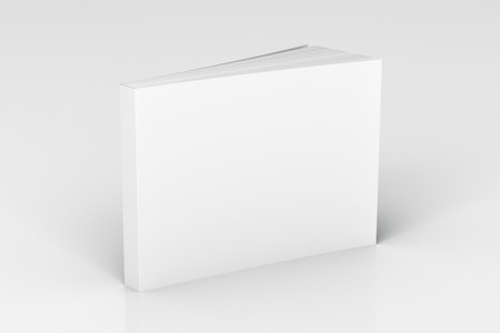 Blank white horizontal soft cover book standing on white background. Isolated with clipping path around book. 3d illustration 版權商用圖片