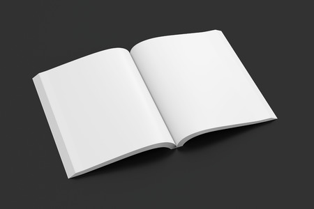 paperback: Blank pages of open portrait soft cover book with glossy paper. Isolated  on black background with clipping path around book. 3d illustration. Stock Photo