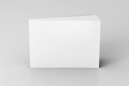 Blank white horizontal soft cover book standing on white background. Isolated with clipping path around book. 3d illustration Stock fotó