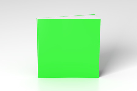 Blank green square soft cover book standing on white background. Isolated with clipping path around book. 3d illustration