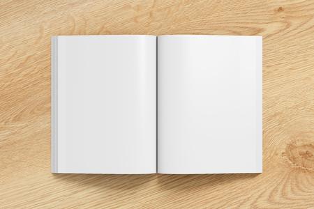 Blanco pagina's van boek met open portret zachte kaft met glanzend papier. Geïsoleerd op houten achtergrond met uitknippad rond boek. 3D illustratie.