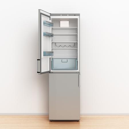 Empty fridge with open door. 3d illustration.