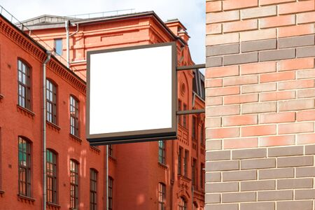 outdoor blank billboard: Blank square singboard on the brick wall. 3d illustration
