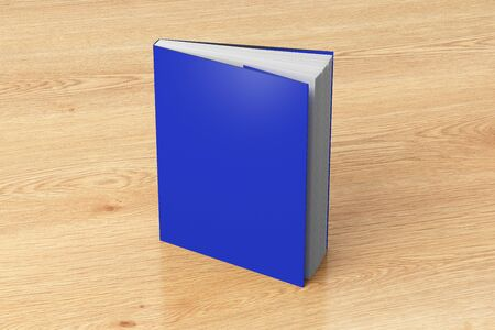 Blank blue vertical dust jacket or dust wrapper standing book. Isolated with clipping path around book. 3d illustration.