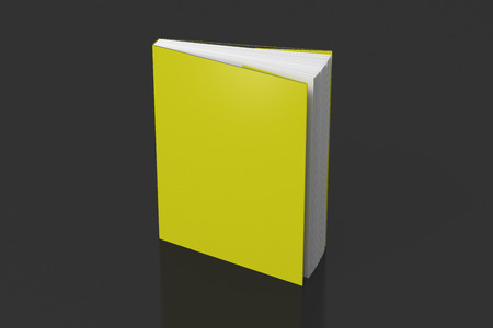 Blank yellow vertical dust jacket or dust wrapper standing book. Isolated with clipping path around book. 3d illustration.