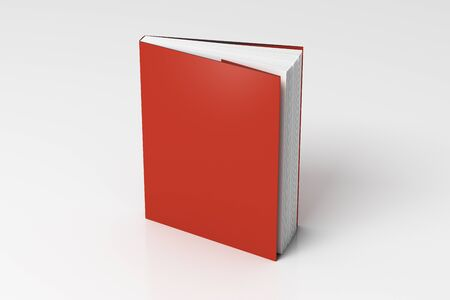Blank red vertical dust jacket or dust wrapper standing book. Isolated with clipping path around book. 3d illustration.