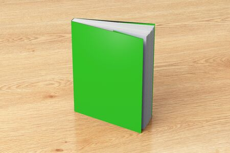 Blank green vertical dust jacket or dust wrapper standing book. Isolated with clipping path around book. 3d illustration.