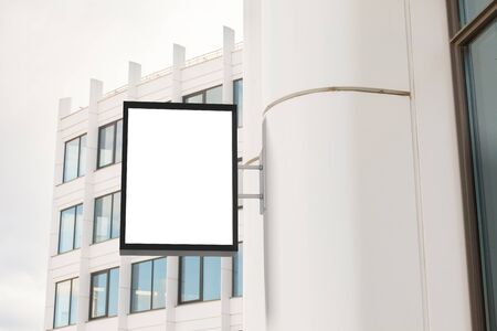 advertising column: Blank vertical singboard on the wall. 3d illustration