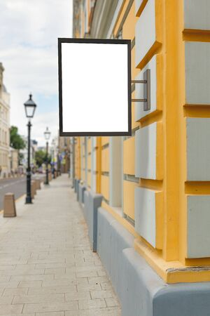 street lamp: Blank vertical singboard on the wall. 3d illustration