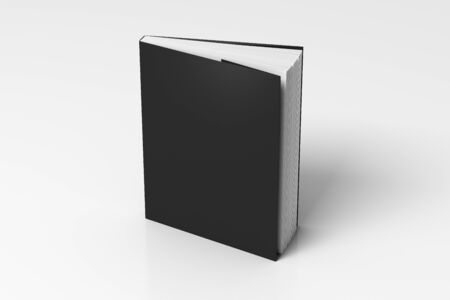 Blank black vertical dust jacket or dust wrapper standing book. Isolated with clipping path around book. 3d illustration.