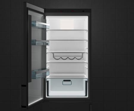Empty fridge with open door at night. 3d illustration.