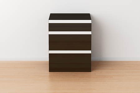 bedroom design: Dark brown drawer chest in home interior. Isolated with clipping path around drawer chest. 3d illustration