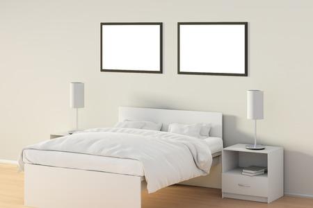 Deux affiches horizontales vierges dans la chambre sur un lit blanc. Isolé avec un tracé de détourage autour du cadre de l'affiche. Illustration 3D Banque d'images - 85622127