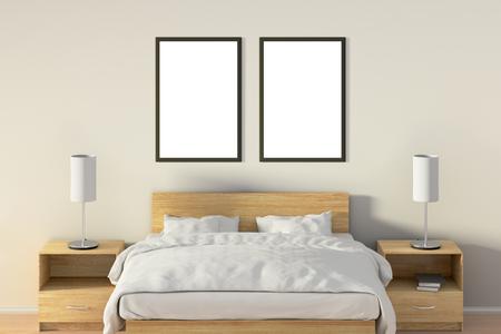 Deux affiches verticales vides dans la chambre au-dessus du lit en bois. Isolé avec un tracé de détourage autour du cadre de l'affiche. Illustration 3D Banque d'images - 85622408