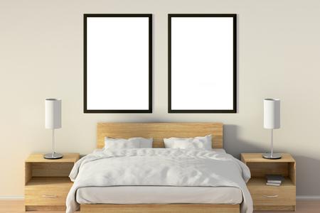 Deux affiches verticales vides dans la chambre au-dessus du lit en bois. Isolé avec un tracé de détourage autour du cadre de l'affiche. Illustration 3D Banque d'images - 85622461