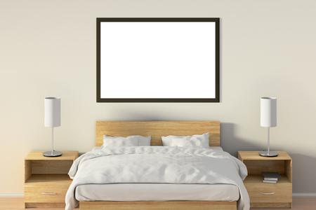 Affiche horizontale vide dans la chambre sur le lit en bois. Isolé avec un tracé de détourage autour du cadre de l'affiche. Illustration 3D Banque d'images - 85622471