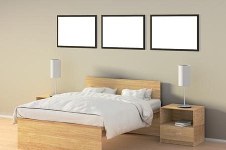 Trois affiches horizontales vierges dans la chambre sur un lit en bois. Isolé avec un tracé de détourage autour du cadre de l'affiche. Illustration 3D Banque d'images - 85639483