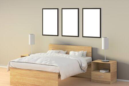 Trois affiches verticales vides dans la chambre sur le lit en bois. illustration avec le chemin isolé . élément de fenêtre en plein air. illustration 3d Banque d'images - 85639492