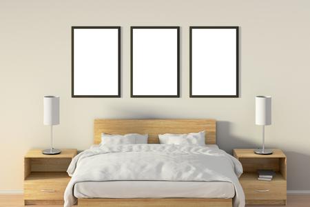 Trois affiches verticales vides dans la chambre sur le lit en bois. illustration avec le chemin isolé . élément de fenêtre en plein air. illustration 3d Banque d'images - 85639210