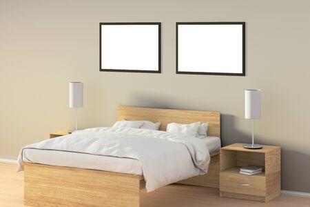 Deux affiches horizontales vides dans la chambre au-dessus du lit en bois. Isolé avec un tracé de détourage autour du cadre de l'affiche. Illustration 3D Banque d'images - 85622530