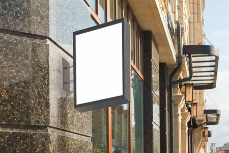 polished: Blank vertical signboard on the wall. 3d illustration
