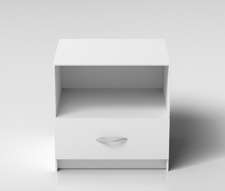 bedside: Empty white nightstand on white background. Isolated with clipping path around nightstand. 3d illustration Stock Photo