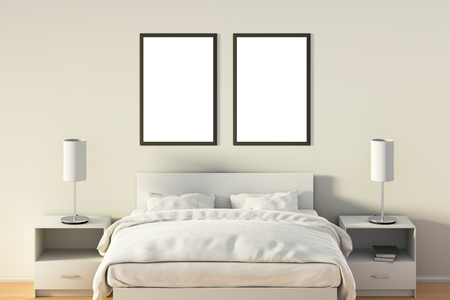 bedside: Two blank vertical posters in bedroom over white bed. Isolated with clipping path around poster frame. 3d illustration