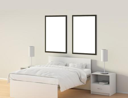 Deux affiches verticales vides dans la chambre sur le lit blanc. isolé avec un panneau intérieur . panneau de signalisation blanc. illustration 3d Banque d'images - 85622548