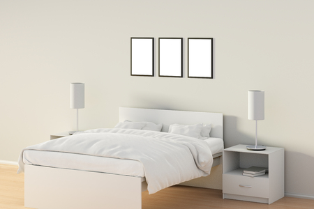bedroom design: Three blank vertical posters in bedroom over white bed. Isolated with clipping path around poster frame. 3d illustration