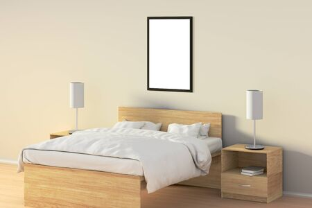 bedside: Blank vertical poster in bedroom over wooden bed. Isolated with clipping path around poster frame. 3d illustration