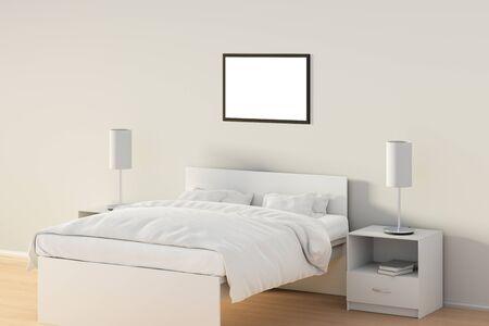Affiche horizontale vide dans la chambre sur le lit blanc. isolé avec un chemin de détourage autour de l & # 39 ; affiche signe. illustration 3d Banque d'images - 85639337