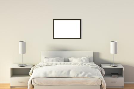 Affiche horizontale en blanc dans la chambre sur le lit blanc. Isolé avec un tracé d'écrêtage autour du cadre de l'affiche. Illustration 3d Banque d'images - 85639447