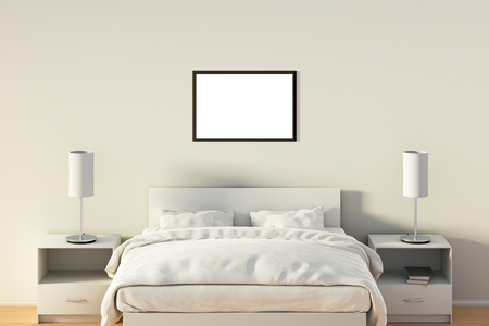 bedside: Blank horizontal poster in bedroom over white bed. Isolated with clipping path around poster frame. 3d illustration