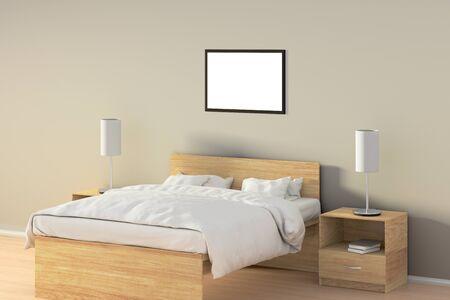 Affiche horizontale vide dans la chambre sur le lit en bois. Isolé avec un tracé de détourage autour du cadre de l'affiche. Illustration 3D Banque d'images - 85622700