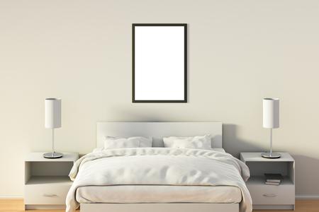 Affiche verticale vide dans la chambre au lit blanc. Isolé avec un tracé de détourage autour du cadre de l'affiche. Illustration 3D Banque d'images - 85639391