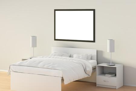 Affiche horizontale vide dans la chambre sur le lit blanc. isolé avec un chemin de détourage autour de l & # 39 ; affiche signe. illustration 3d Banque d'images - 85622719