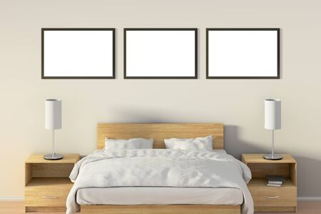 front desk: Three blank horizontal posters in bedroom over wooden bed. Isolated with clipping path around poster frame. 3d illustration Stock Photo