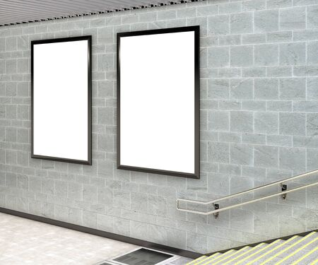 two: Two blank vertical billboard posters underground. 3d illustration