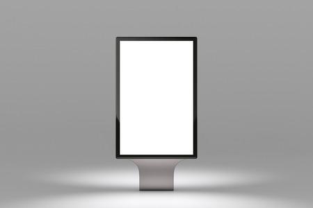 city background: Blank advertisement banner light box on gray background.