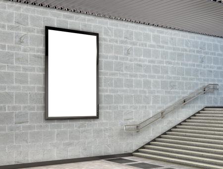 city background: Blank vertical billboard poster underground. 3d illustration Stock Photo