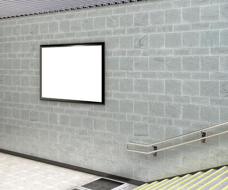 Blank horizontal advertising billboard poster underground. 3d illustration