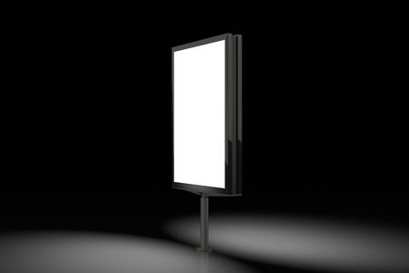 Blank advertisement banner lightbox on black background. Isolated with clipping path around billboard stand. 3d illustration Stock Photo