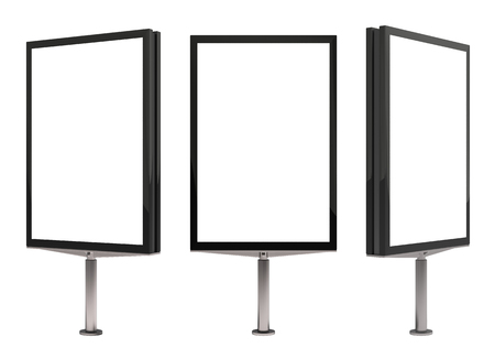Blank advertisement billboard stand mockup set on white background. 3d illustration