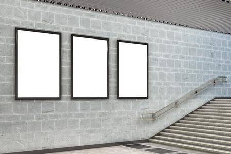 Three blank vertical billboard poster underground. 3d illustration