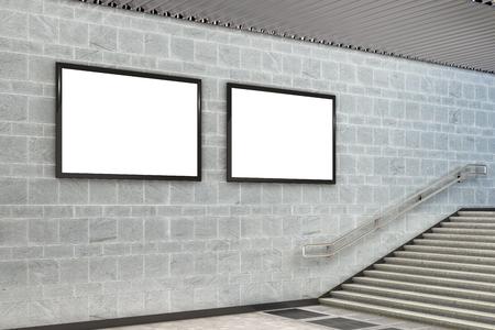 Two blank horizontal advertising billboard posters underground. 3d illustration