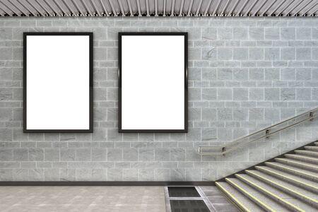 2 つの縦看板ポスター地下白します。3 d イラストレーション